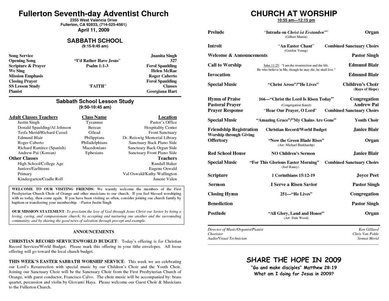Church Bulletin Templates Free