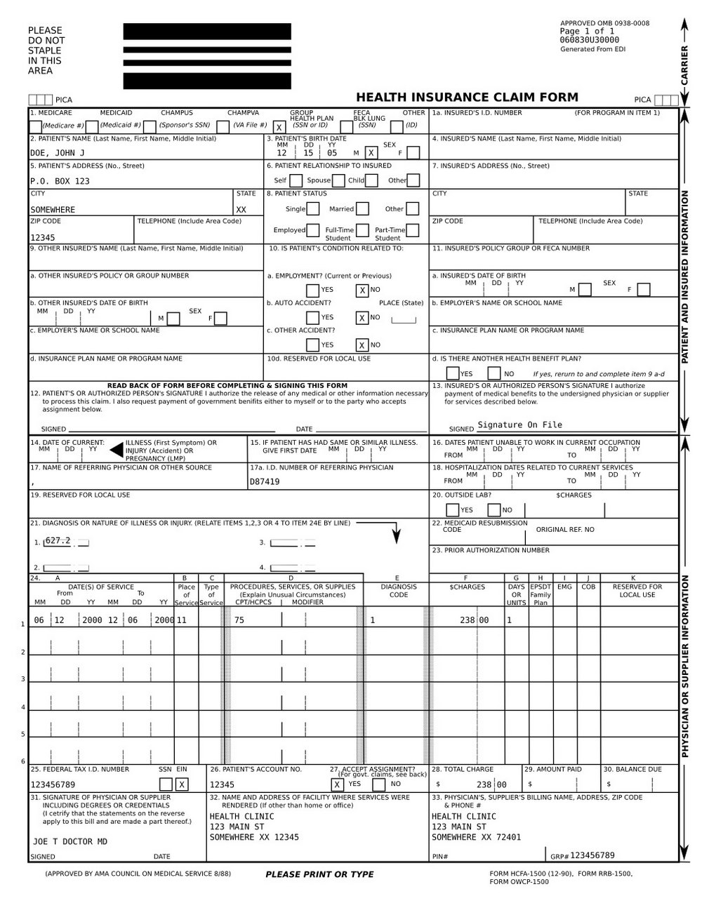 Cms 1500 Form Fillable