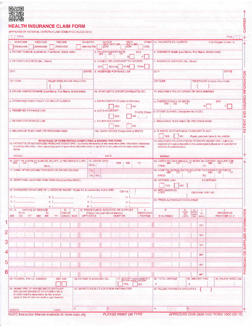 Cms Form 1500 Instructions