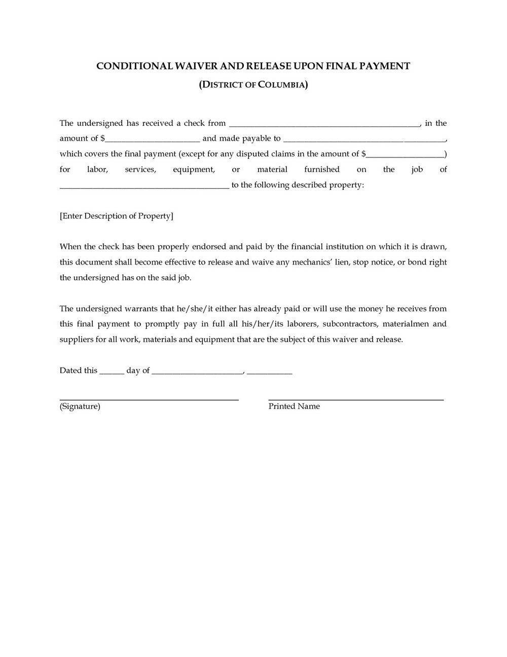 Conditional Lien Waiver Form North Carolina