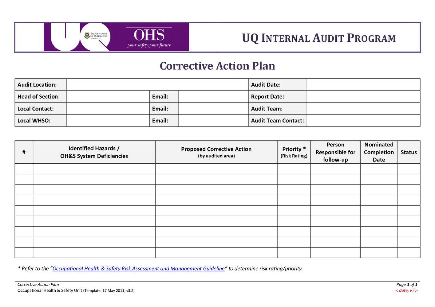 Corrective Action Plan Template Excel