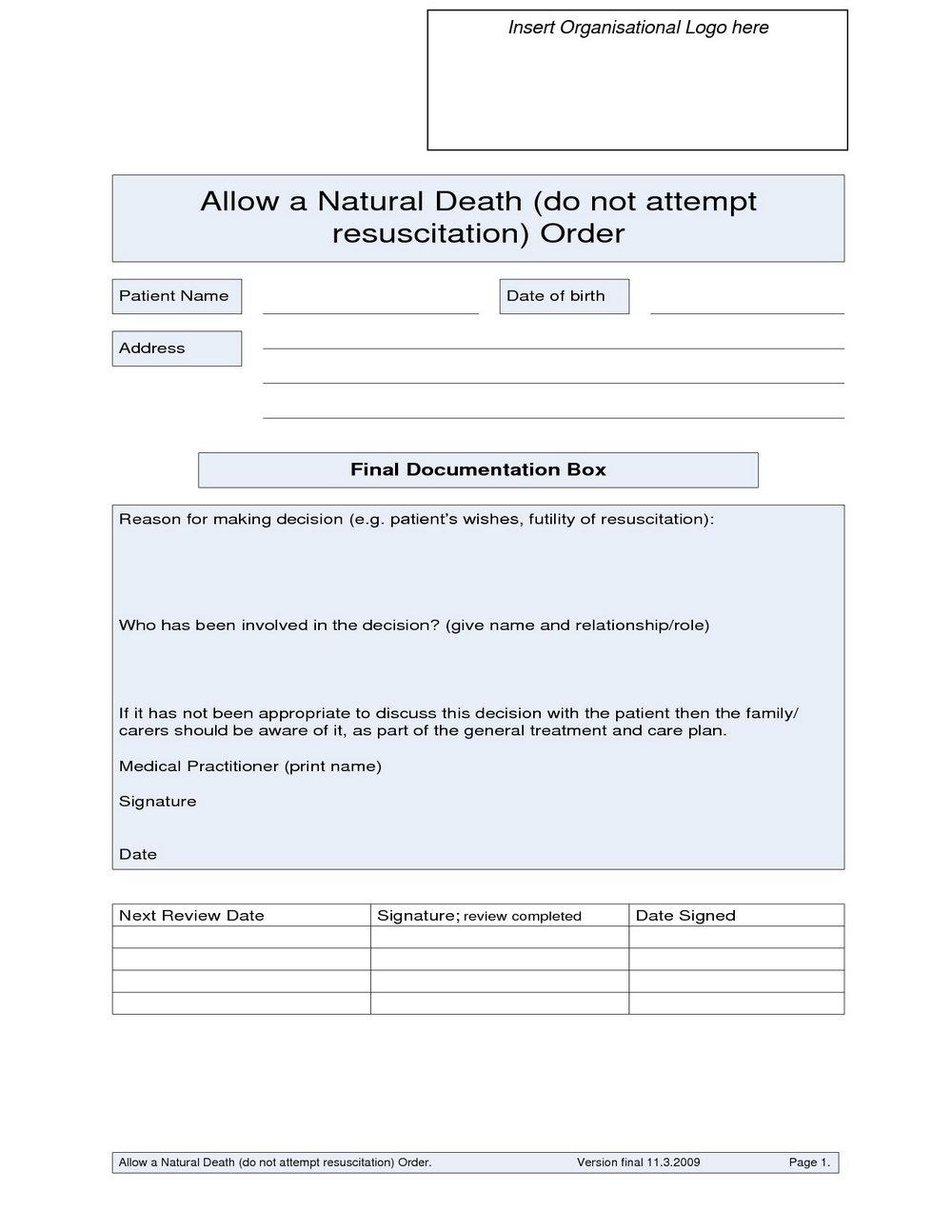 Dnr Do Not Resuscitate Form