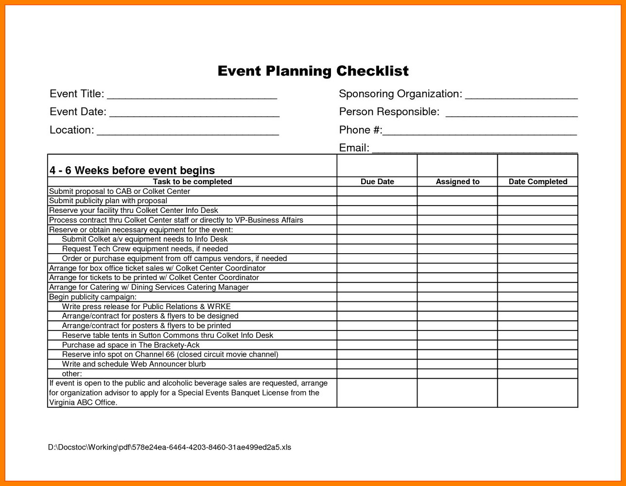 Event Planning Timeline Template Excel