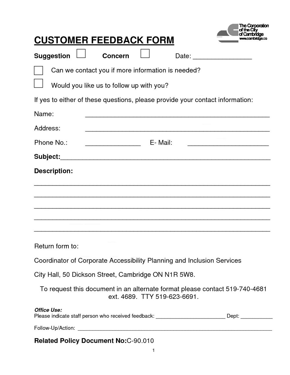 Feedback Form For Housekeeping Services