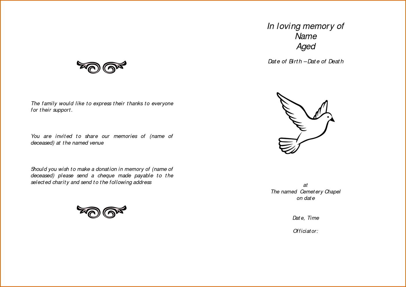 Free Funeral Program Template Download 2010