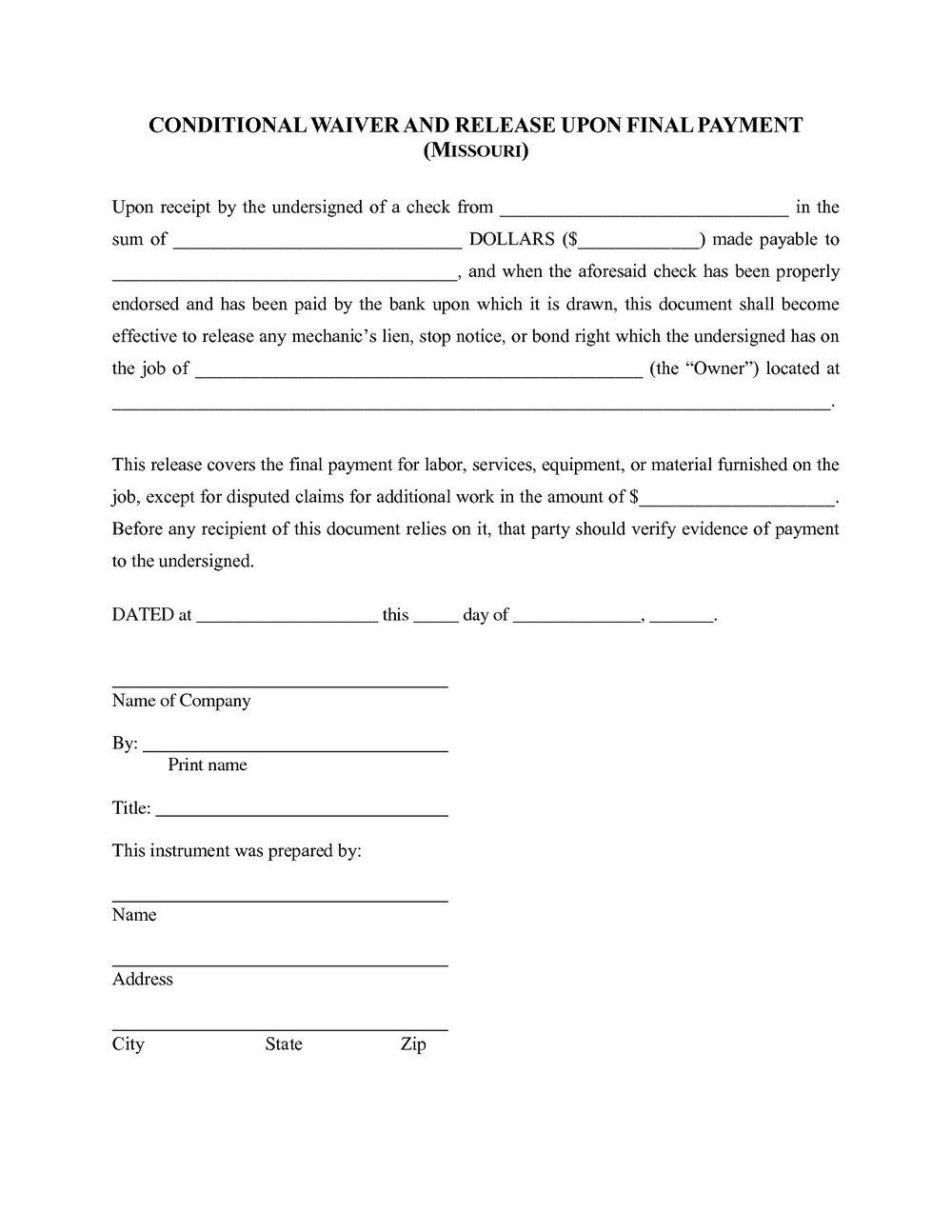 Free Lien Waiver Form Missouri