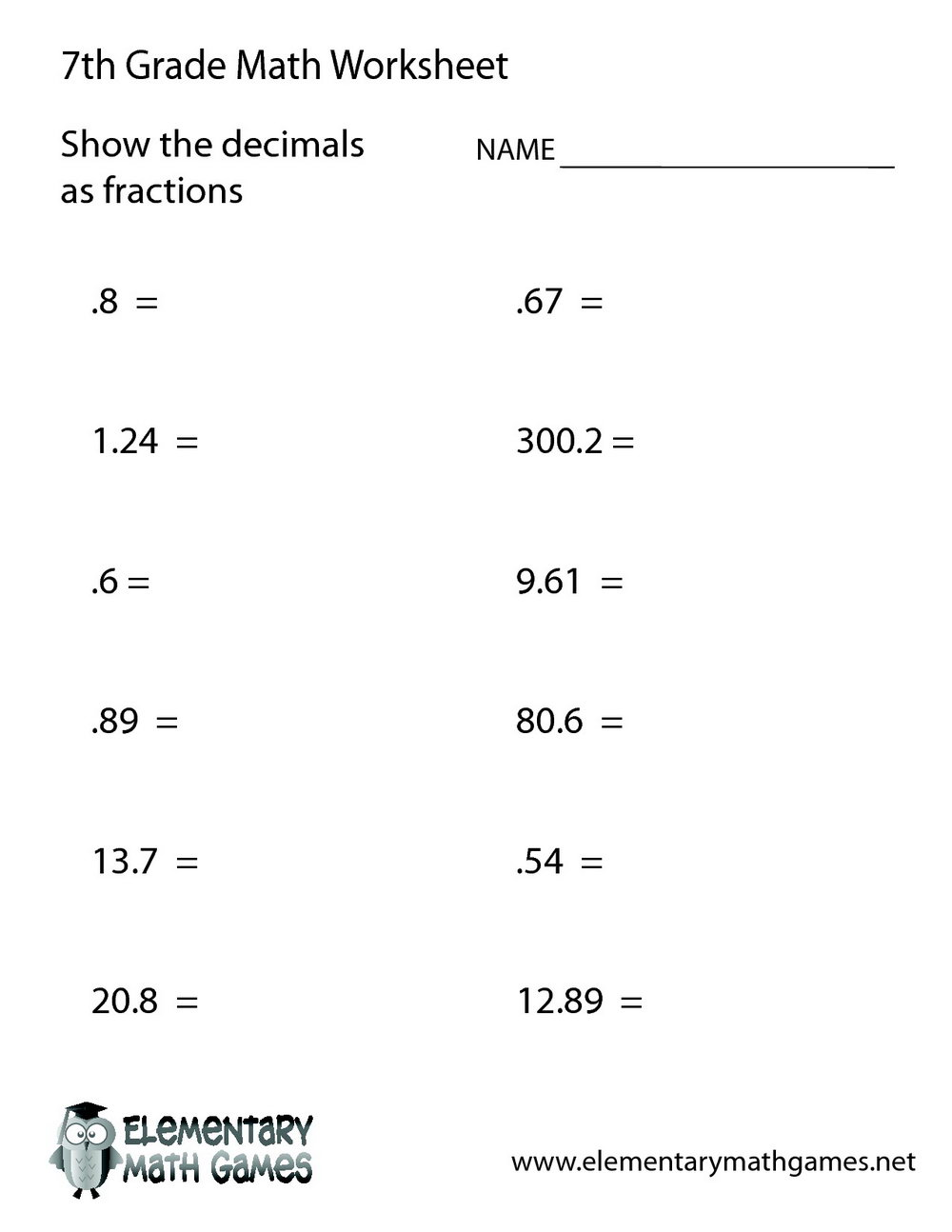 Free Maths Worksheets For Grade 7 With Answers