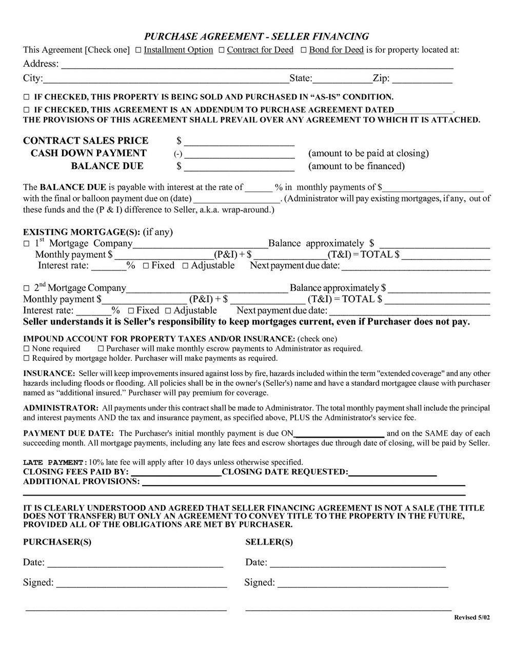 Free Owner Financing Contract Forms