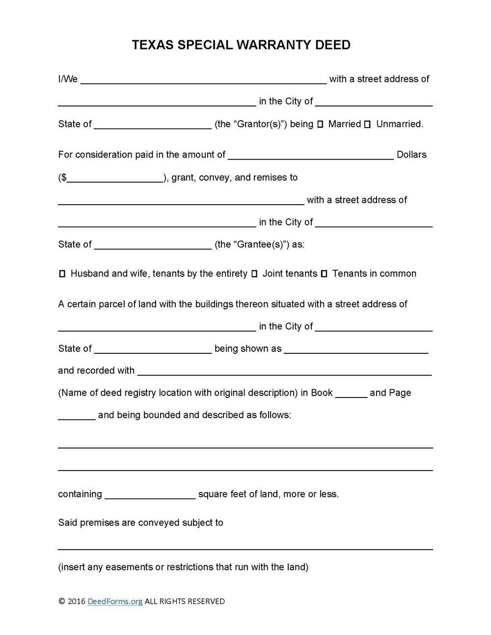 Free Texas Warranty Deed Form Download