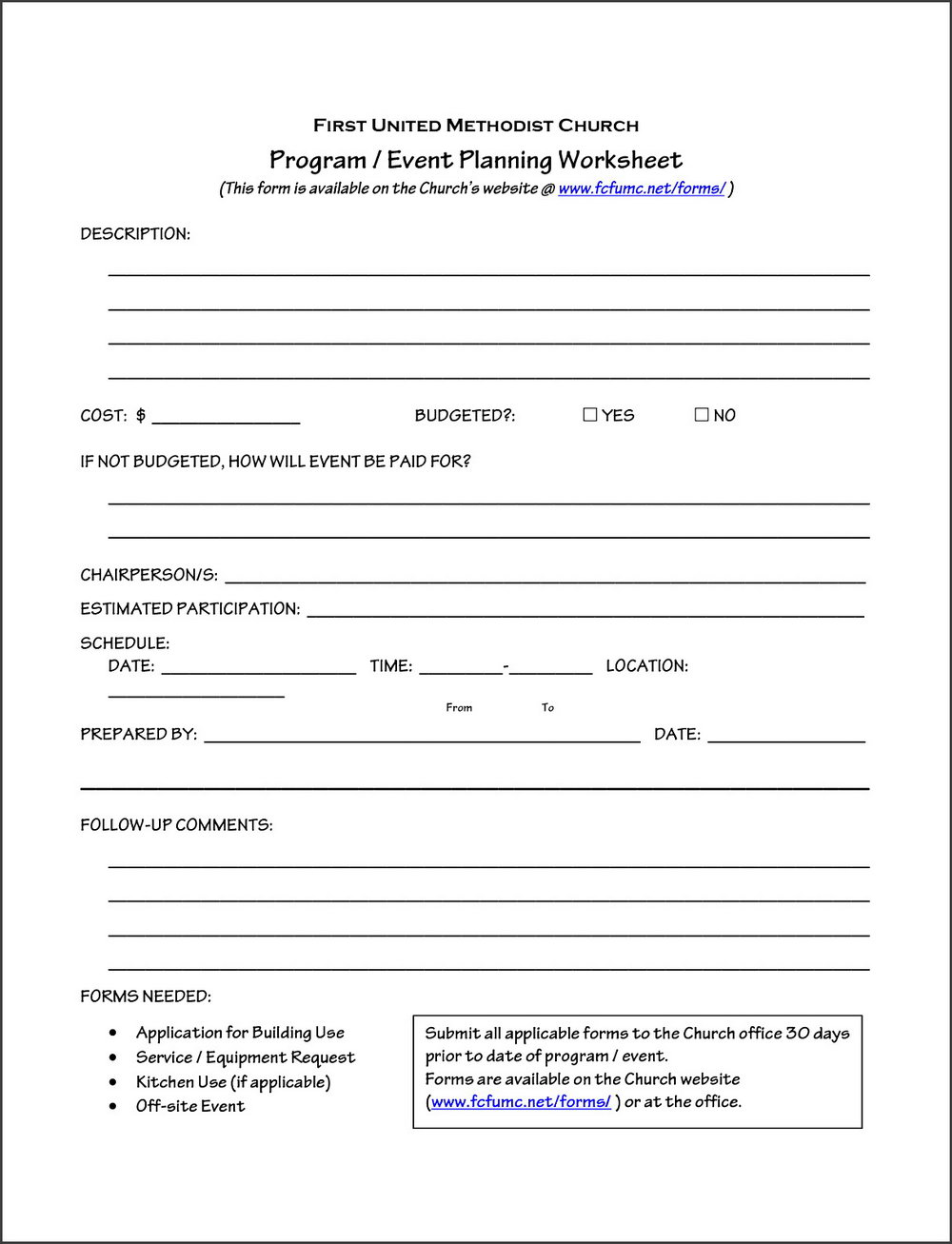 Funeral Pre Planning Worksheet