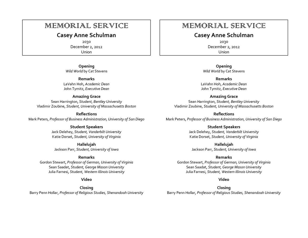 Funeral Program Template Indesign
