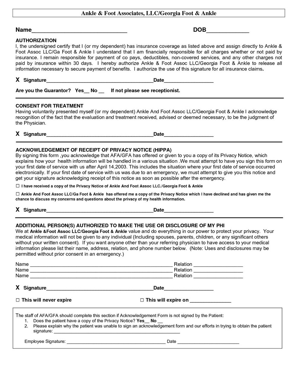 Hipaa Privacy Policy Form