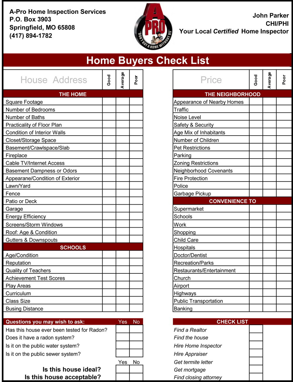 Home Inspection Worksheet Free