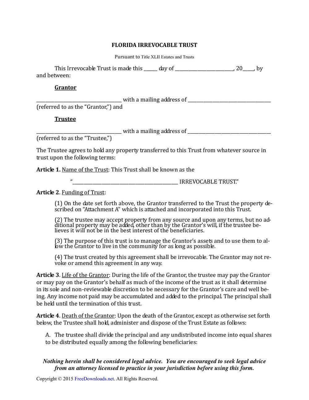 Irrevocable Living Trust Forms Free Download