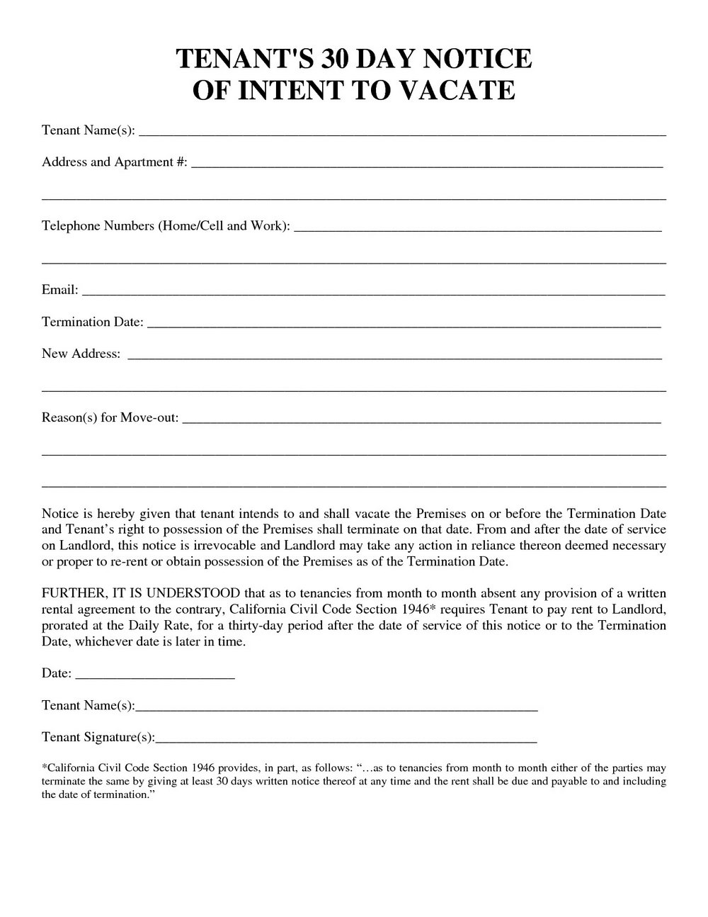 Landlord Notice To Vacate Form