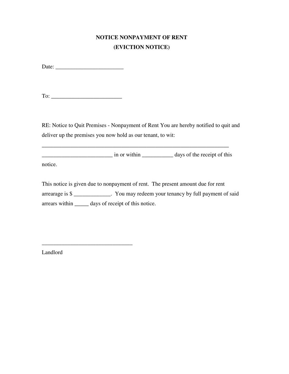 Legal Eviction Notice Form