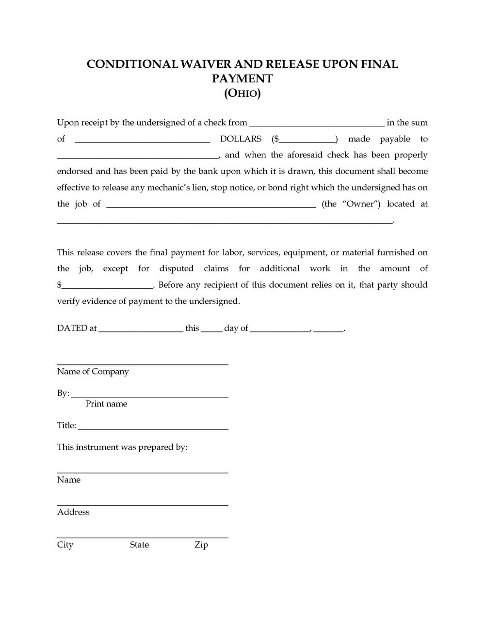 Lien Release Form Texas Contractor