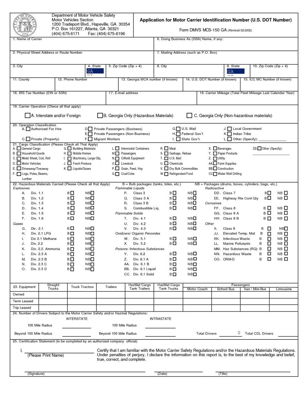 Mcs 150 Printable Form