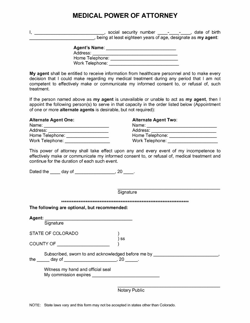 Medical Power Of Attorney Form Colorado Free