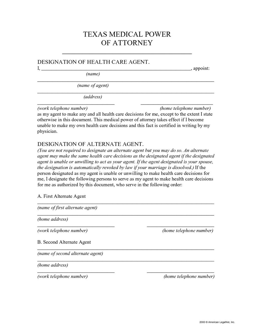 Medical Power Of Attorney Form Colorado