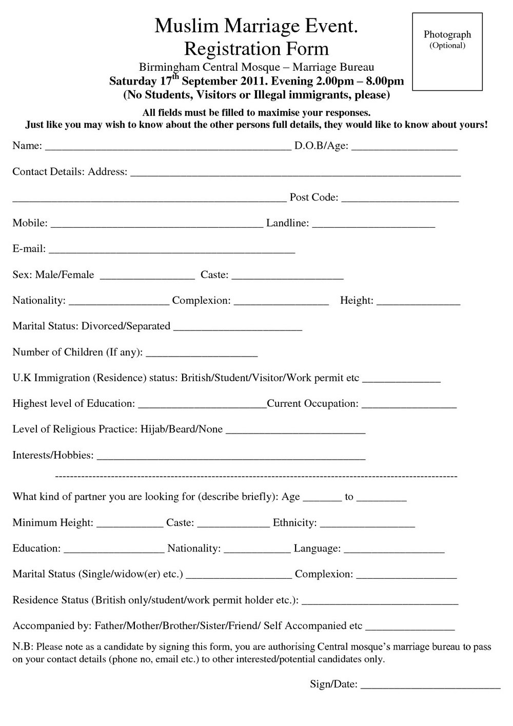 Muslim Marriage Contract Form