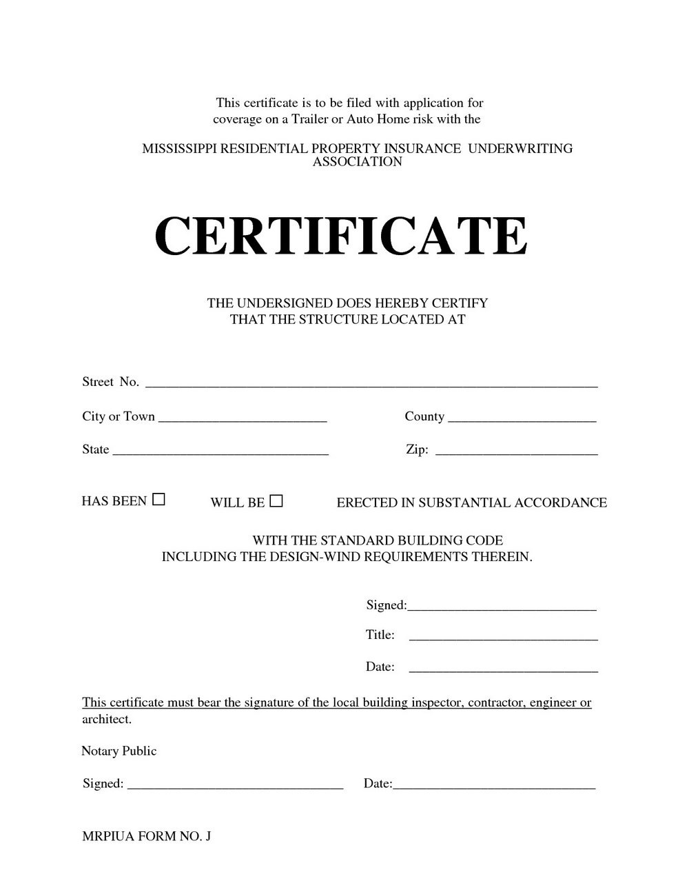 Notary Certificate Form
