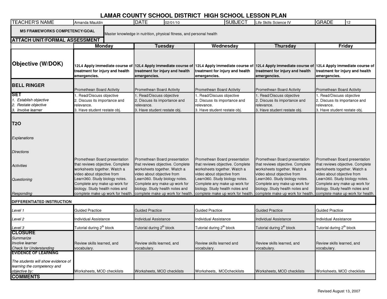 Nutrition And Wellness Worksheets