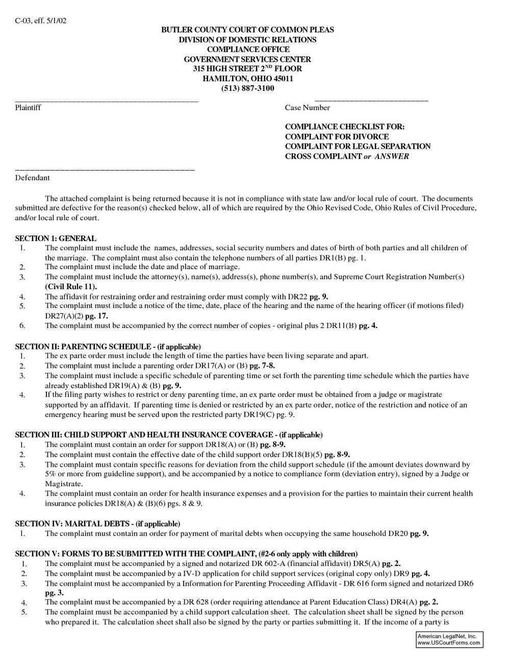 Ohio Legal Separation Forms