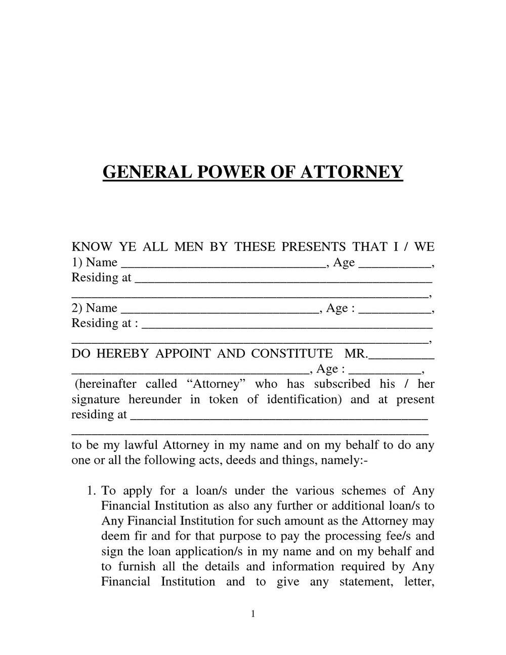Power Of Attorney Template Pakistan