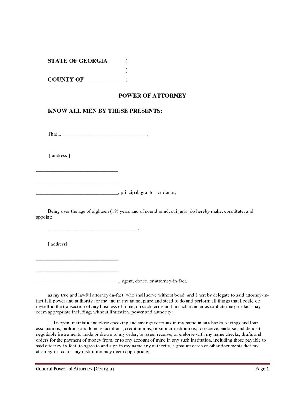 Power Of Attorney Template Simple