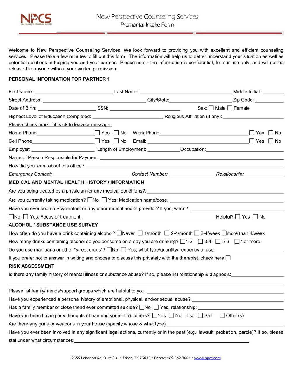 Premarital Counseling Forms