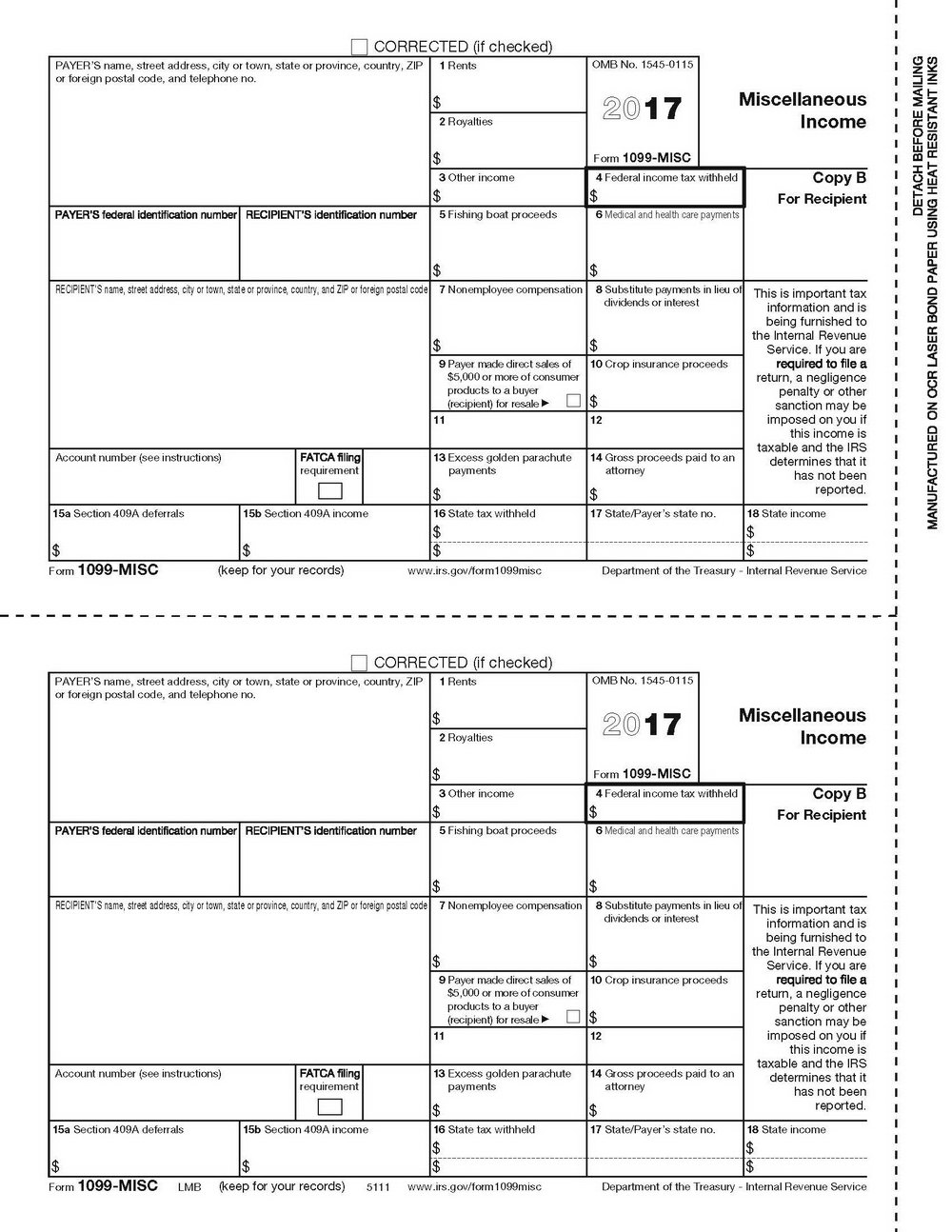 Printable 1099 Misc Form 2017 Pdf