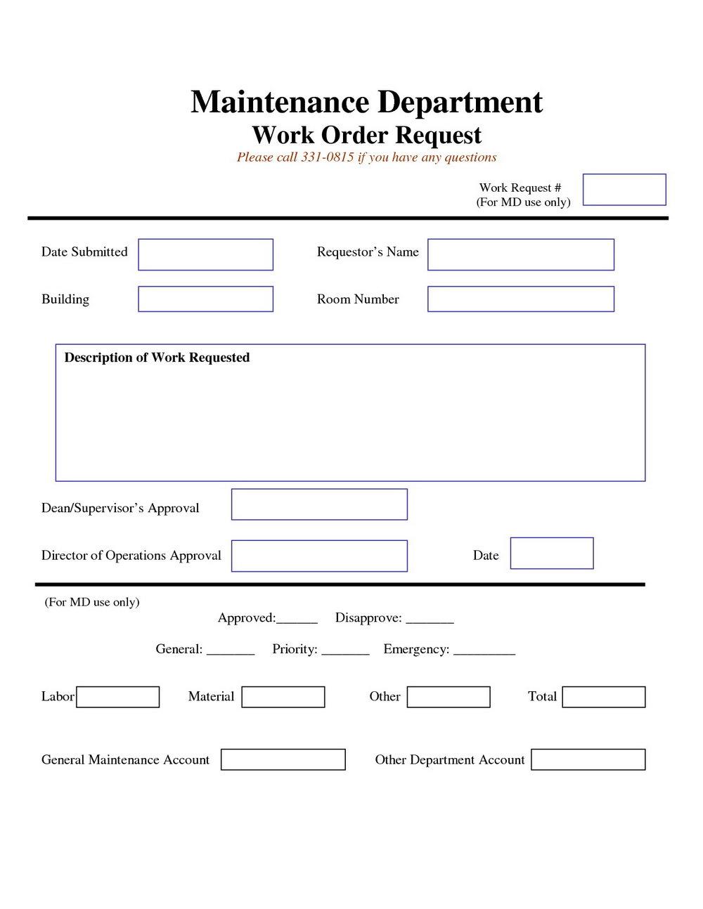 Printable Maintenance Work Order Forms