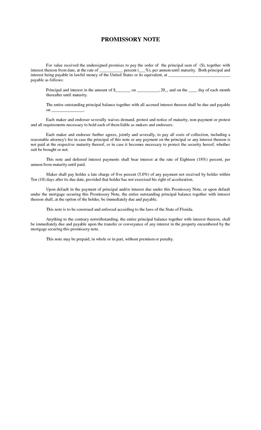 Promissory Note Template Free