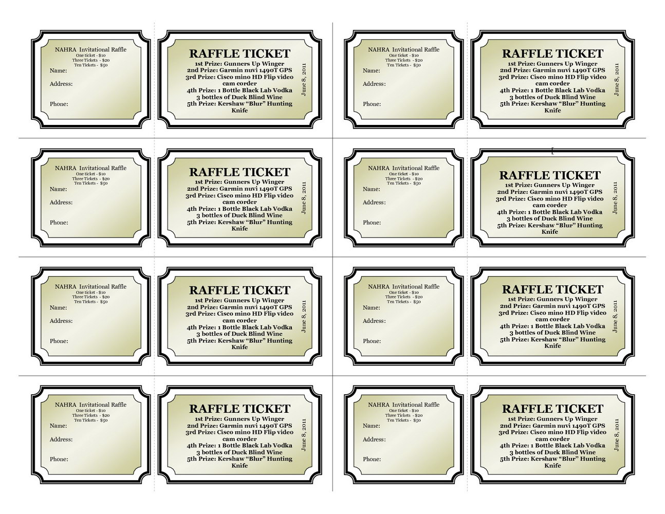 Raffle Ticket Templates Free Pdf