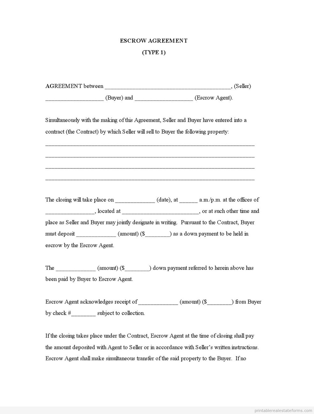 Real Estate Escrow Agreement Form