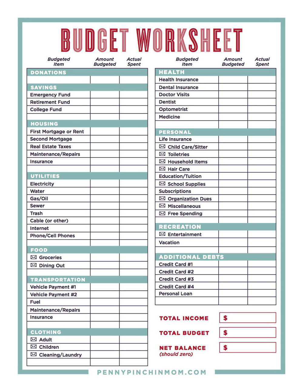 Retirement Budget Planner Worksheet