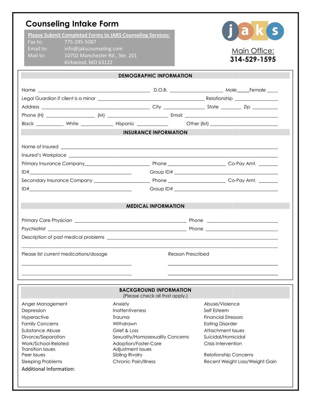 Sample Counseling Intake Forms