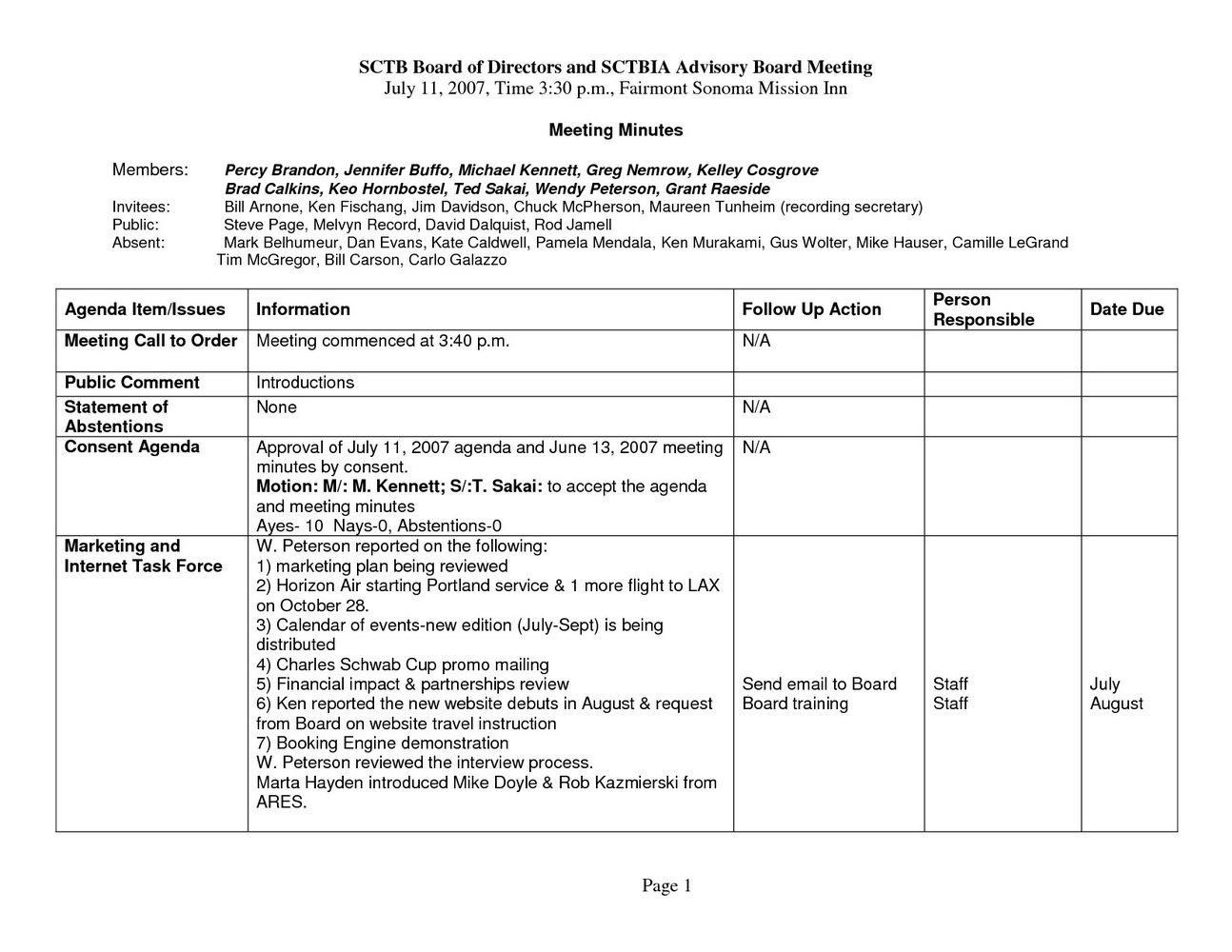 Sample Nonprofit Board Meeting Agenda Template