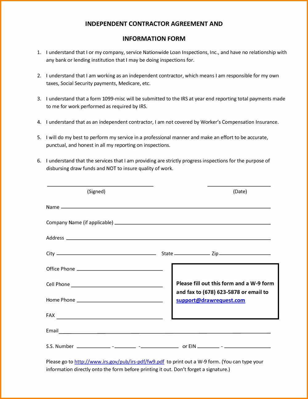 Sample Of Independent Contractor Agreement Form