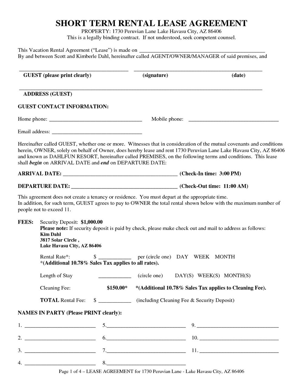 Short Form Commercial Lease Agreement