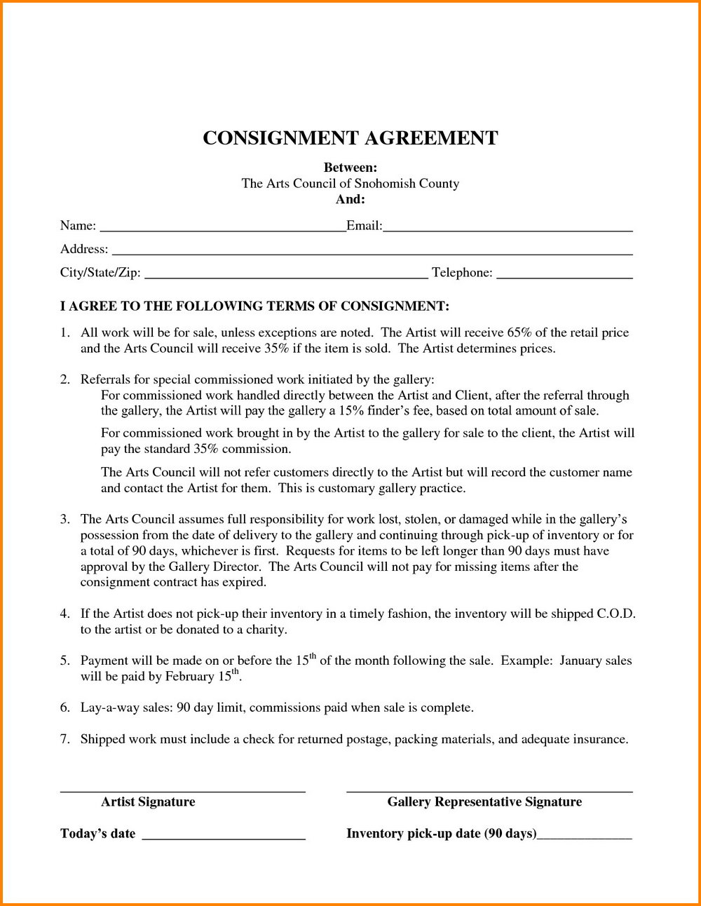 Simple Consignment Agreement Form