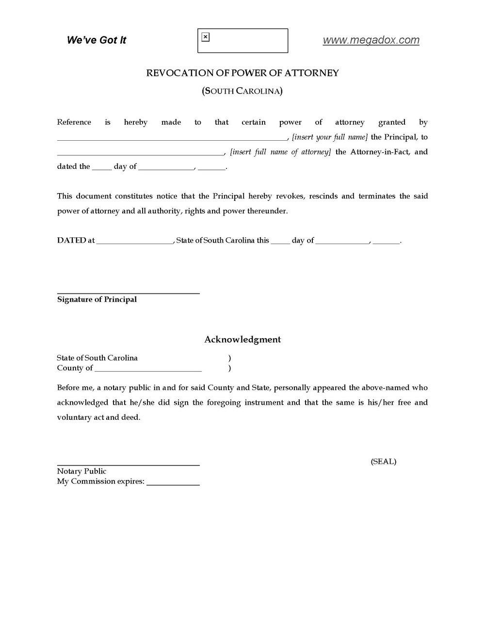 South Carolina Power Of Attorney Form 2848