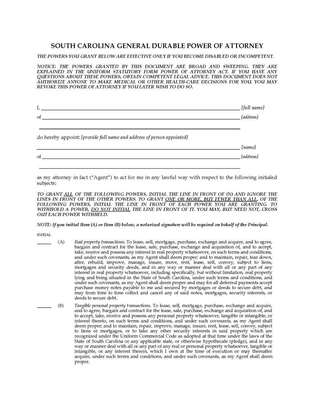 South Carolina Power Of Attorney Form