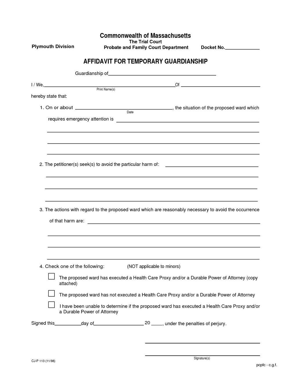 Temporary Custody Forms Texas