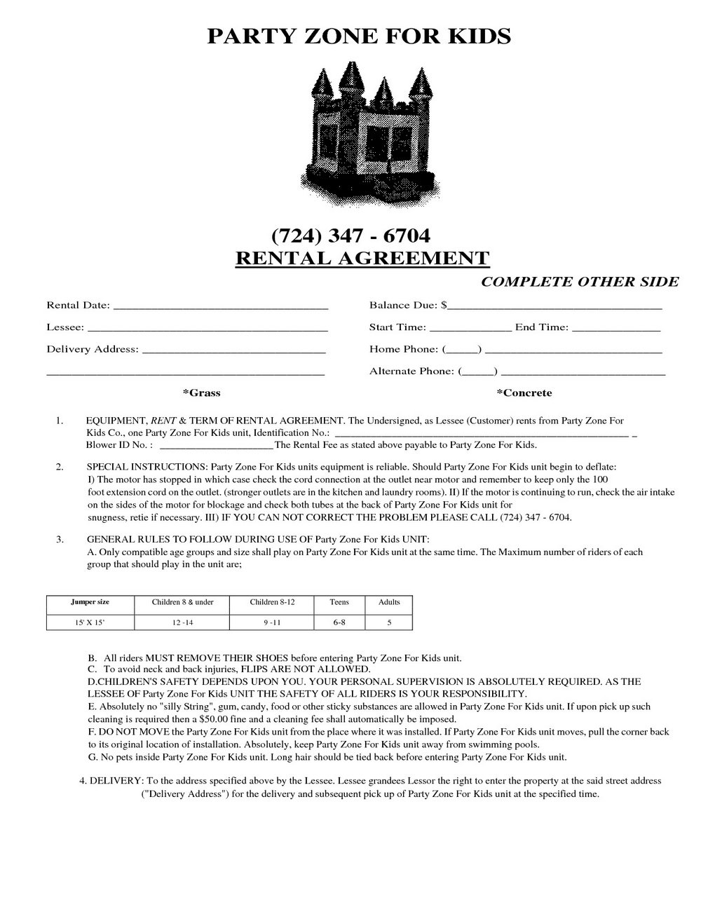 Tent Rental Agreement Forms