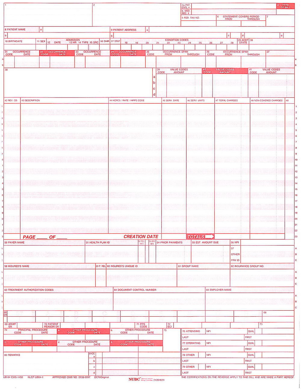 Ub 04 Billing Form