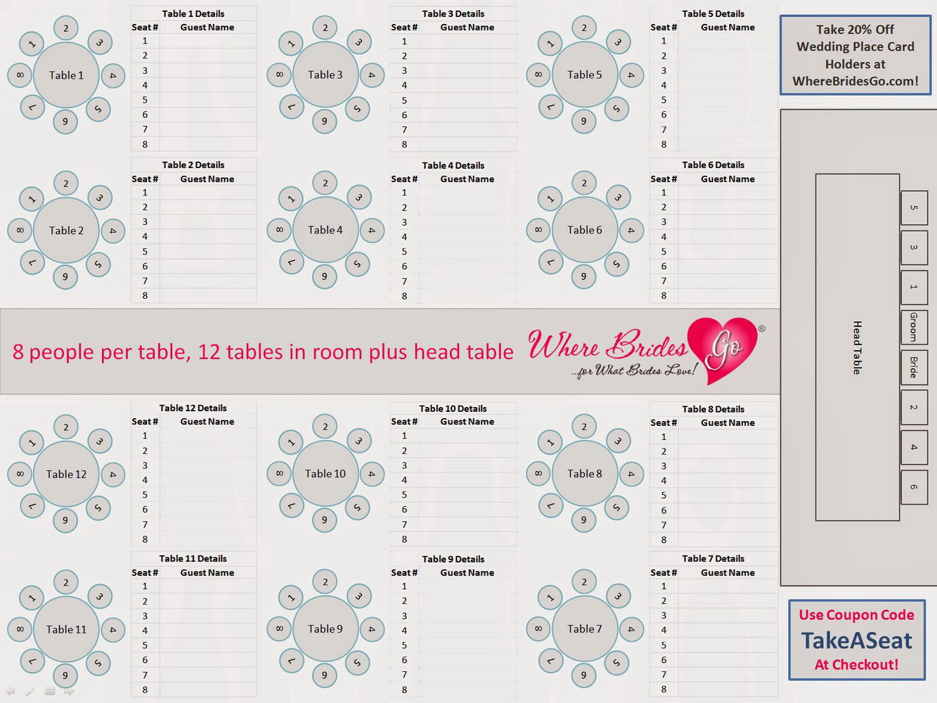 Wedding Seating Chart Template Google Docs
