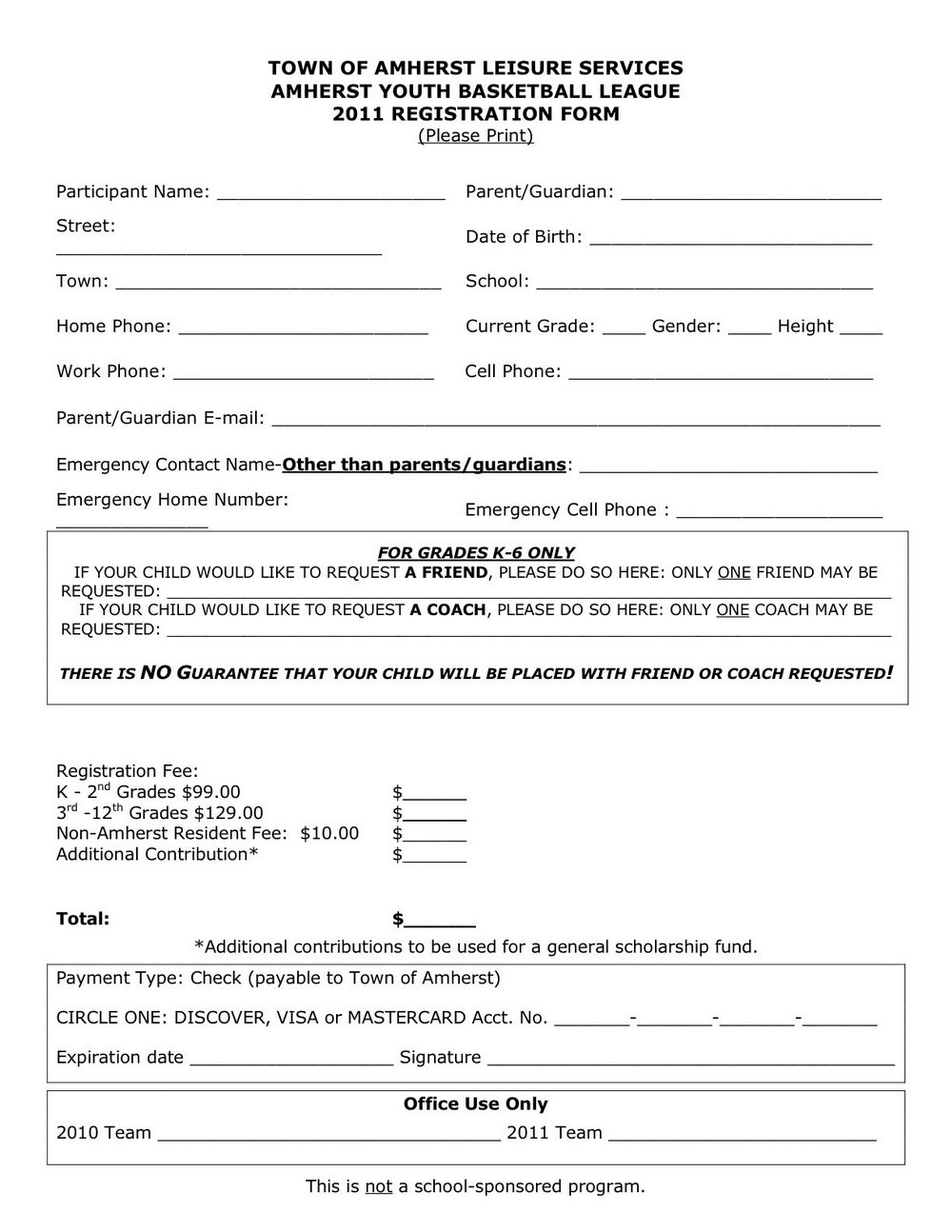 Youth Sports Registration Form Template
