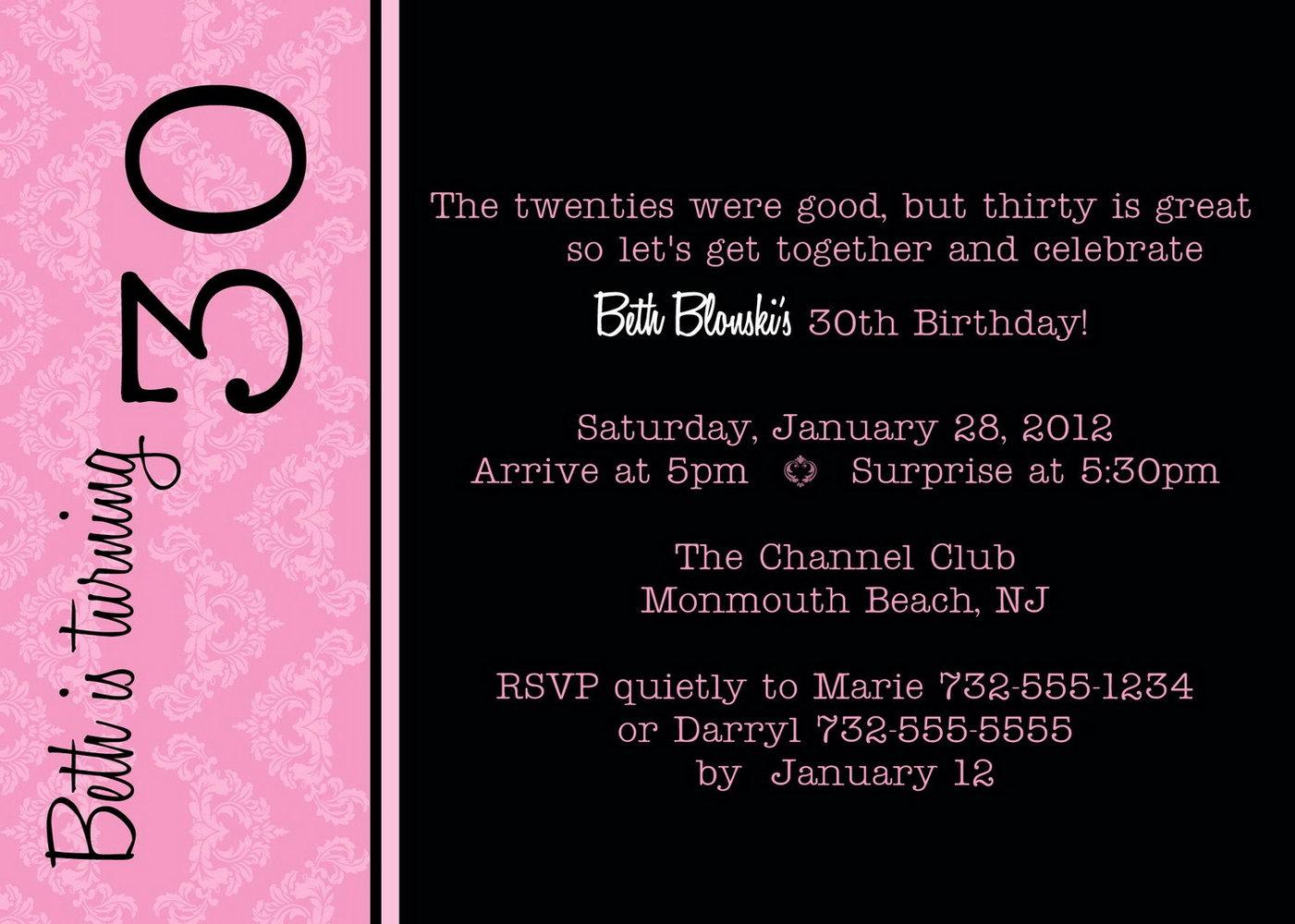 30th Birthday Invites Templates